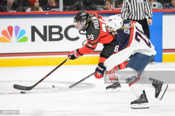 MariePhilip Poulin of Canada controls the puck against Kendall Coyne of the United States during the game on December 3 2017 at Xcel Energy Center in...
