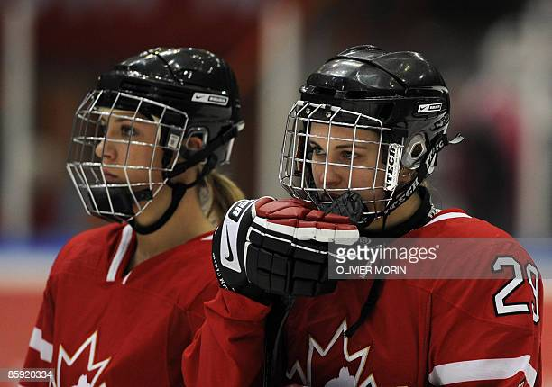 MariePhilip Poulin of Canada recats after loosing the gold medal match of the World Championship matchl between Canada and USA in Haemeenlinna on...