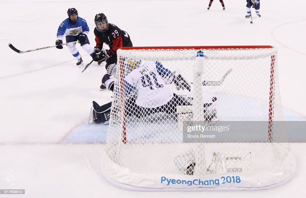 Marie-Philip Poulin #29 of Canada scores a goal in the first period against Noora Raty #41 of Finland during the Women's Ice Hockey Preliminary Round - Group A game on day four of the PyeongChang 2018 Winter Olympic Games at Kwandong Hockey Centre on February 13, 2018 in Gangneung, South Korea.