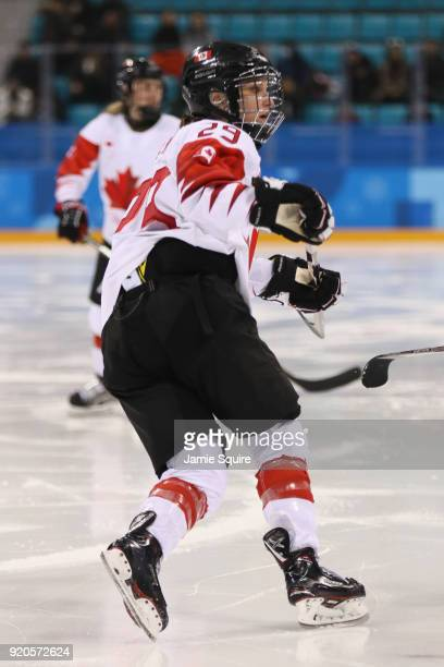 MariePhilip Poulin of Canada skates against Olympic Athletes from Russia during the Ice Hockey Women Playoffs Semifinals on day 10 of the PyeongChang...