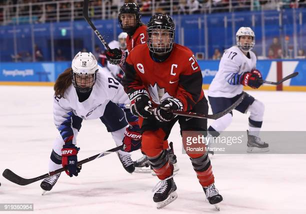 MariePhilip Poulin of Canada skates for the puck during the Women's Ice Hockey Preliminary Round Group A game on day six of the PyeongChang 2018...