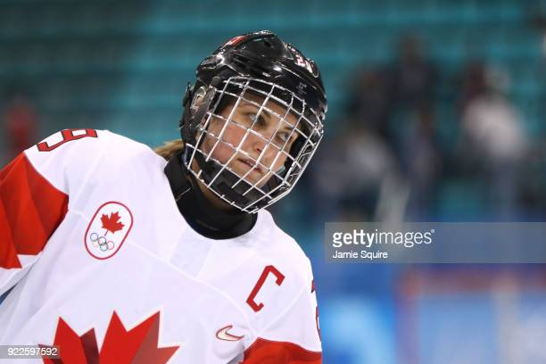 MariePhilip Poulin of Canada warms up before the Women's Gold Medal Game against the United States on day thirteen of the PyeongChang 2018 Winter...