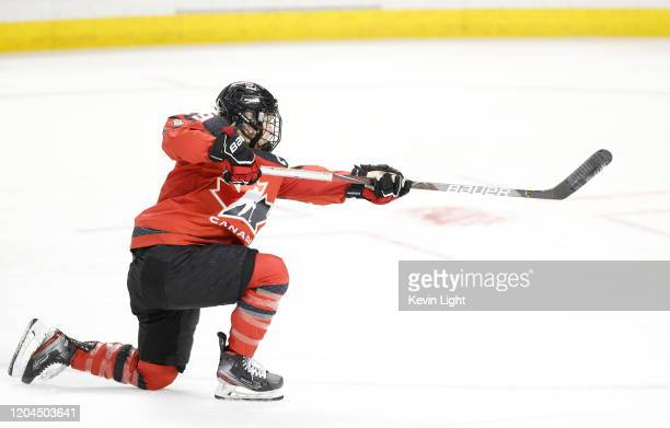 Marie-Philip Poulin of team Canada shoots the puck during the warm up prior to a game against team USA during a Rivalry Series game at the...
