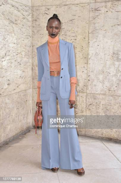 Marie-Pierra Kakoma attends the Chloe Womenswear Spring/Summer 2021 show as part of Paris Fashion Week on October 01, 2020 in Paris, France.