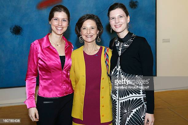 MarieStephane de Sercey Director of the 'Societe Des Amis Du Musee D'Art Moderne' her daughters Mirabelle and Philippine attend the Society's 8th...
