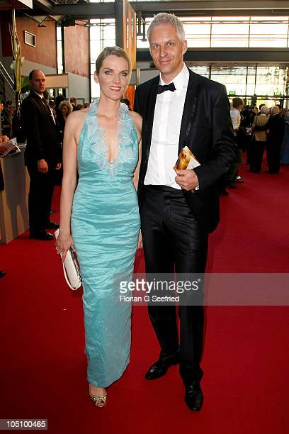 Marietta Slomka and Christof Lang attend the German TV Award 2010 at Coloneum on October 9, 2010 in Cologne, Germany.