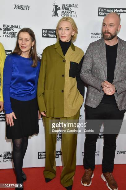 Mariette Rissenbeek Cate Blanchett and Matthis Wouter Knoll pose at the Stateless photo call during the 70th Berlinale International Film Festival...