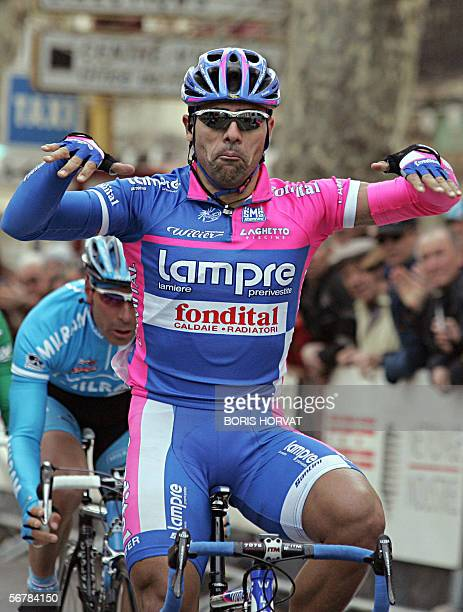 Italian Danuo Napolitano reacts on the finish line as he wins the first stage of the 33rd Mediterranean Tour 08 February 2006 in Marignane, southern...