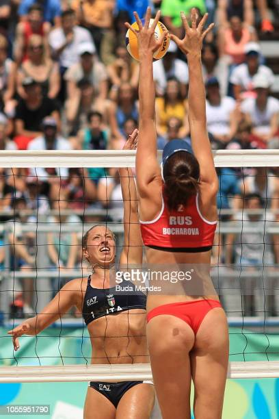 Mariia Bocharova of Russia blocks Claudia Scampoli of Italy during the Women's Volleyball Final on day 11 of Buenos Aires 2018 Youth Olympic Games at...