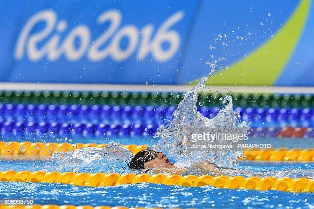 Mariia Lafina of Ukraine competes in the Women's 50m Backstroke S4 Final on day 9 of the Rio 2016 Paralympic Games at Olympic Aquatics Stadium on...