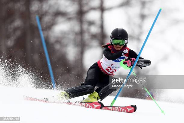 Mariia Papulova of Neutral Paralympic Athlete competes in the Women's Slalom at Jeongseon Alpine Centre on Day 9 of the PyeongChang 2018 Paralympic...
