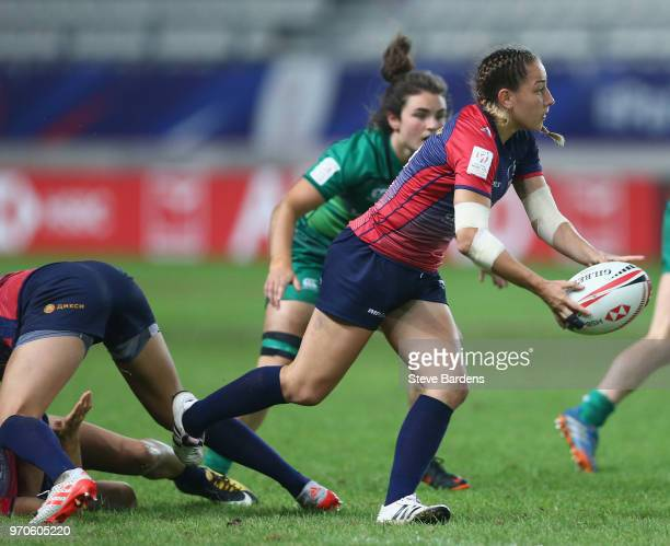 Mariia Perestiak of Russia passes the ball during the Trophy Final between Ireland and Russia during the HSBC Paris Sevens at Stade Jean Bouin on...