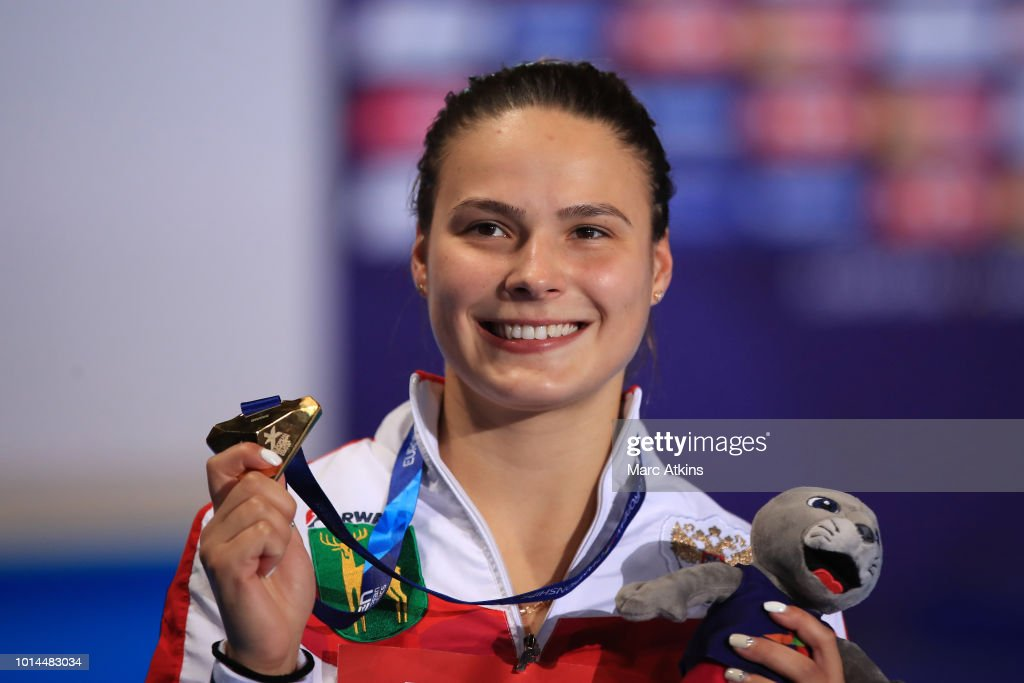 Mariia Poliakova of Russia celebrates with her medal after winning the Women's 1m Springboard Final on Day Nine of the European Championships Glasgow 2018 at Royal Commonwealth Pool on August 10, 2018 in Edinburgh, Scotland. This event forms part of the first multi-sport European Championships.