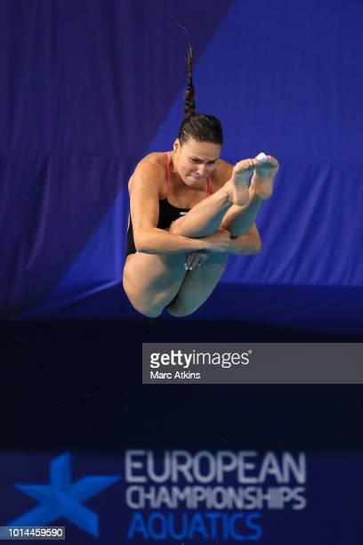 Mariia Poliakova of Russia competes in the Women's 1m Springboard Final on Day Nine of the European Championships Glasgow 2018 at Royal Commonwealth...
