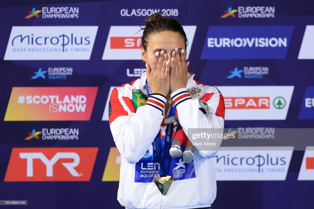 Mariia Poliakova of Russia reacts after receiving her Gold medals for the Women's 1m Springboard Final on Day Nine of the European Championships Glasgow 2018 at Royal Commonwealth Pool on August 10, 2018 in Edinburgh, Scotland. This event forms part of the first multi-sport European Championships.