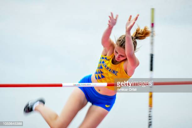 Mariia Yashchenko of Ukraine in the Women's Pole Vault Stage 1 at Youth Olympic Park Villa Soldati on October 11 2018 in Buenos Aires Argentina