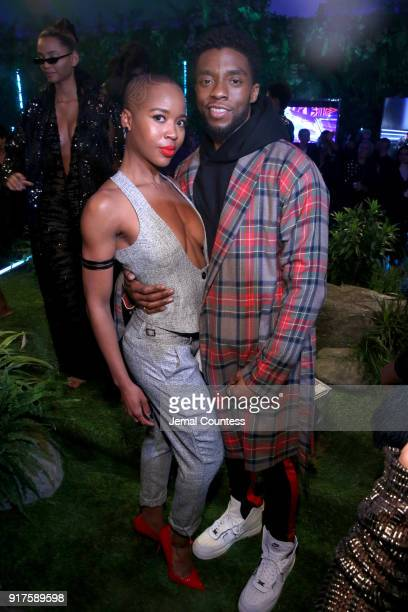Marija Abney and Chadwick Boseman attend the Marvel Studios Black Panther Welcome to Wakanda New York Fashion Week Showcase at Industria Studios on...