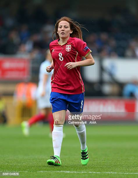 Marija Ilic of Serbia during the UEFA Women's European Championship Qualifier match between England and Serbia at Adams Park on June 4 2016 in High...