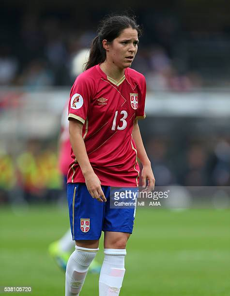 Marija Jonovic of Serbia during the UEFA Women's European Championship Qualifier match between England and Serbia at Adams Park on June 4 2016 in...
