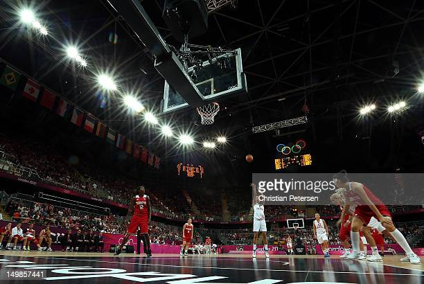 Marija Vrsaljko of Croatia shoots a free throw shot against Turkey during the Women's Basketball Preliminary Round match on Day 9 of the London 2012...