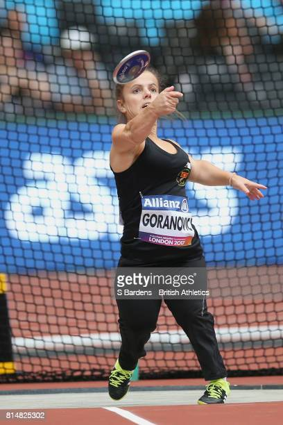 Marijana Goranovic of Montenegro competes in the Women's Discus Throw F41 Final during Day Two of the IPC World ParaAthletics Championships 2017 at...