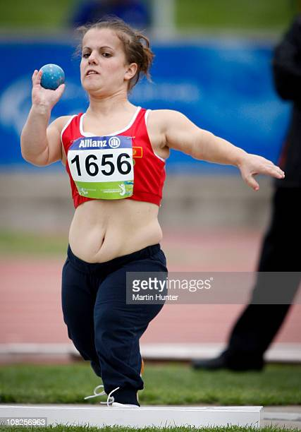 Marijana Goranovic of Morocco competes in the Women's Shot Put F40 during the IPC Athletics World Championships at QE II Park on January 23 2011 in...