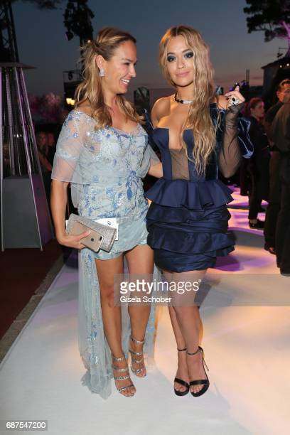 Marijana Matthaeus former wife of Lothar Matthaeus and Rita Ora during the DeGrisogono Love On The Rocks gala during the 70th annual Cannes Film...