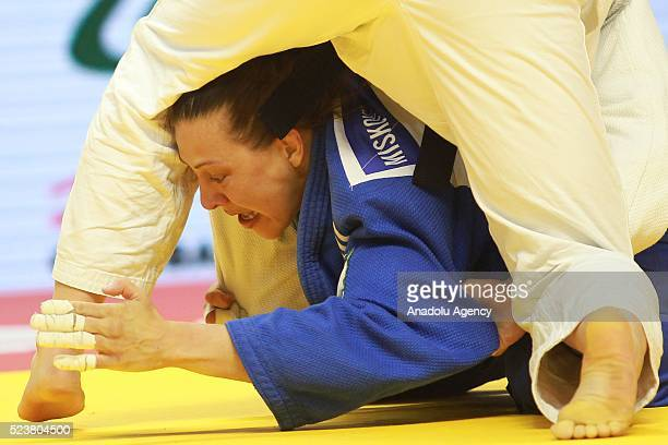 Marijana Miskovic Hasanbegovic of the Croatia in action against Laura Vargas Koch of Germany during the women's 70kg category quarterfinal bout of...
