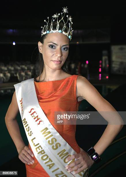 Marijana Pokrajac poses as she was named Miss Montenegro at the annual beauty contest in Podgorica Montenegro early on August 15 2009 AFP PHOTO /...
