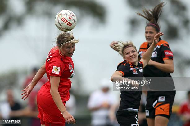 Marijana Rajcic of Adelaide heads the ball during the round four WLeague match between Adelaide United and the Brisbane Roar at Burton Park on...