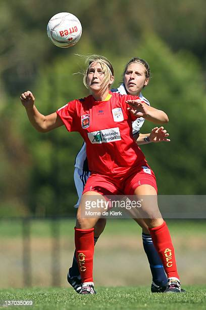 Marijana Rajcic of Adelaide wins the ball during the round 12 WLeague match between Adelaide United and the Melbourne Victory at Burton Park on...