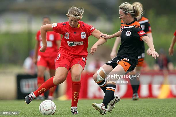 Marijana Rajcic of Adelaide wins the ball during the round four WLeague match between Adelaide United and the Brisbane Roar at Burton Park on...