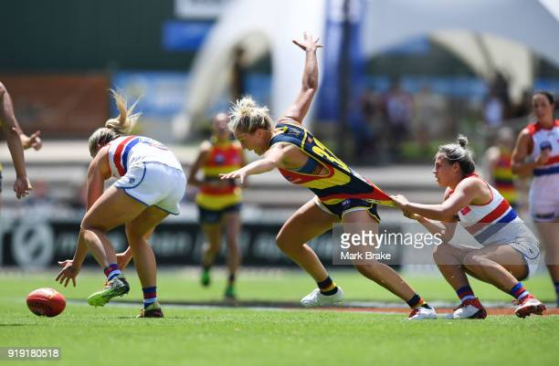 Marijana Rajcic of the Adelaide Crows gets held during the round three AFLW match between the Adelaide Crows and the Western Bulldogs at Norwood Oval...
