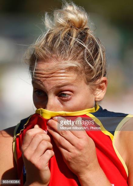 Marijana Rajcic of the Crows looks dejected after a loss during the 2018 AFLW Round 07 match between the Collingwood Magpies and the Adelaide Crows...