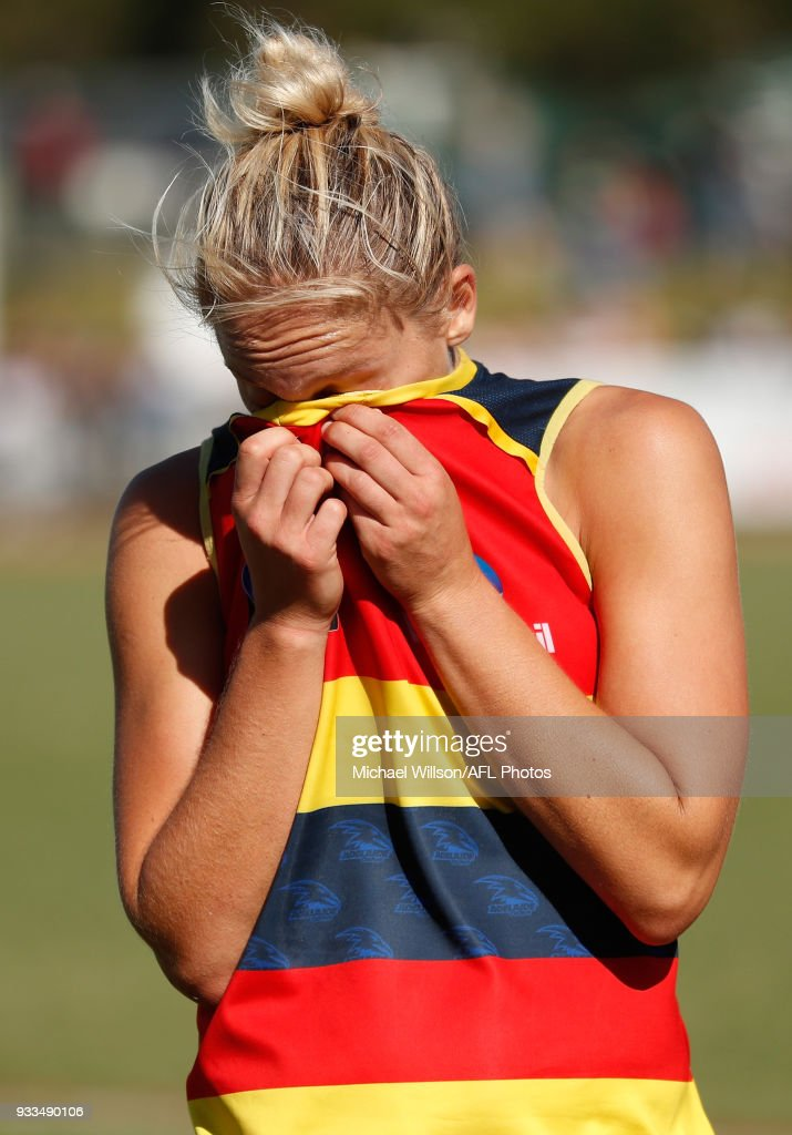 marijana rajcic of the crows looks dejected after a loss during the