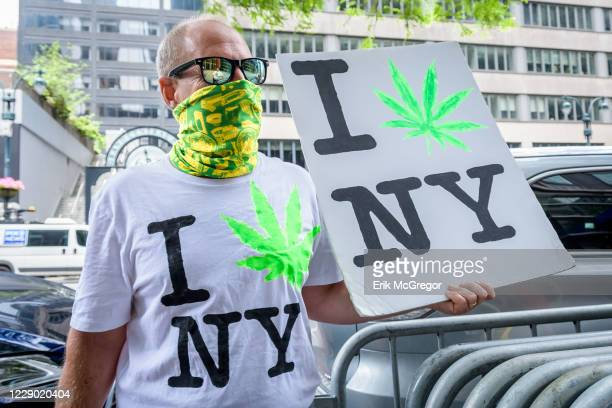 Marijauna rally outside New York Governor's office in Manhattan calling on Governor Andrew Cuomo, Senate Majority Leader Andrea Stewart-Cousins, and...