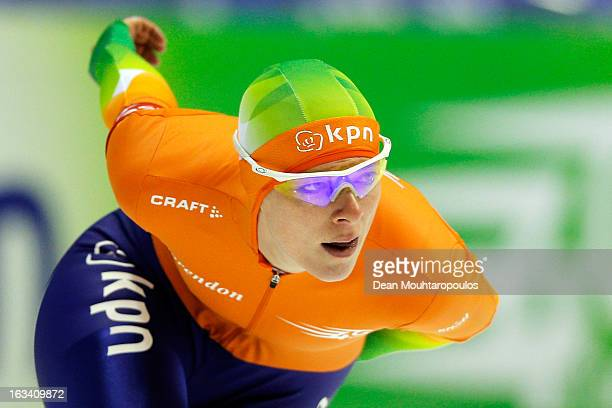 Marije Joling of Netherlands competes in the 3000m Ladies race on Day 2 of the Essent ISU World Cup Speed Skating Championships 2013 at Thialf...