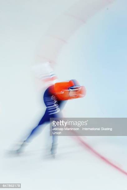 Marije Joling of Netherlands competes in the Ladies 3000m during day one of the World Allround Speed Skating Championships at Viking Skipet Hamar...