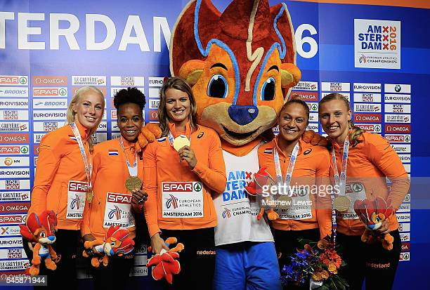 Marije van Hunenstijn Jamile Samuel Dafne Schippers Naomi Sedney and Tessa van Schagen pictured with their gold medals after winning the Womens...