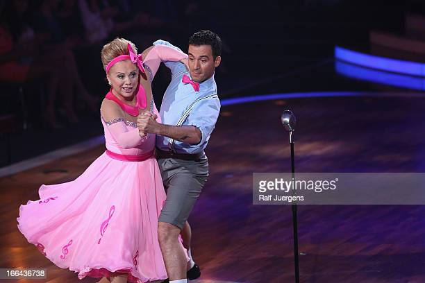 Marijke Amado and Stefano Terrazzino attend the 2nd Show of 'Let's Dance' on RTL on April 12 2013 in Cologne Germany