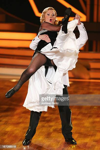 Marijke Amado and Stefano Terrazzino attend the 3rd Show of 'Let's Dance' its sixth round on the German RTL network on April 19 2013 in Cologne...