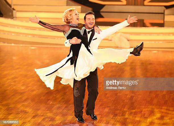 Marijke Amado and Stefano Terrazzino perform during the 3rd Show of 'Let's Dance' on the German RTL network on April 19 2013 in Cologne Germany