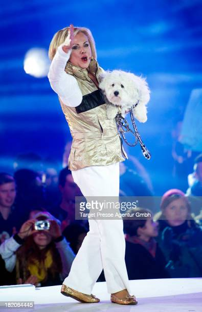 Marijke Amado leaves the container at the Promi Big Brother finals at Studio Adlershof on September 27 2013 in Berlin Germany