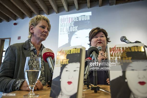 Marijke Libert writer of the book and Minister of Health and Social Affairs Maggie De Block attend a press presentation of the book 'Buitengewoon...