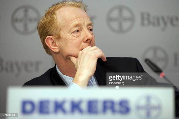 Marijn Dekkers, member of the board of management of Bayer AG and the company's designated chief executive officer, pauses during a news conference...