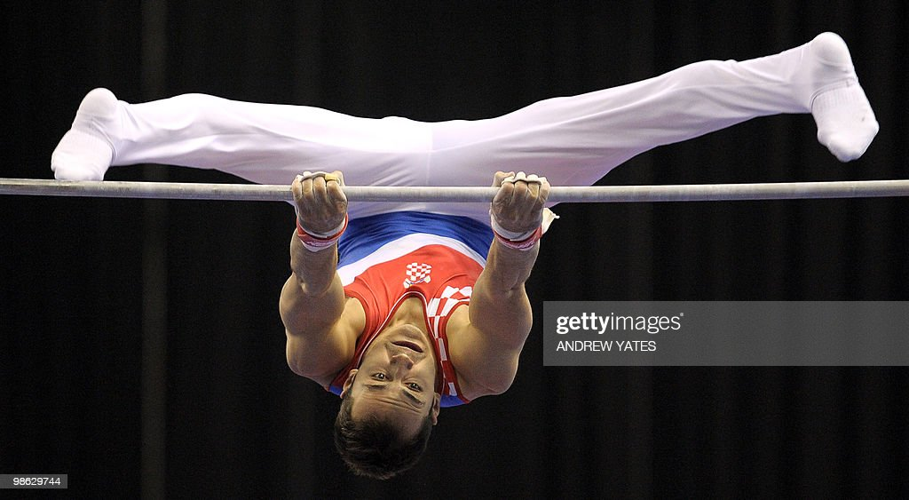 Marijo Moznik of Croatia performs on the Parallel Bars during the mens senior qualification round, in the European Artistic Gymnastics Team Championships 2010, at the National indoor Arena in Birmingham, central England on April 23, 2010.