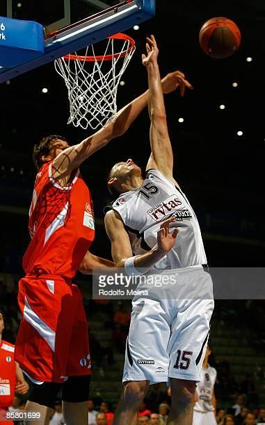 Marijonas Petravicius, #15 of Lietuvos Rytas competes with Boban Marjanovic, #20 of Hemofarm Stada during Eurocup Basketball Semi Final 1, Hemofarm...