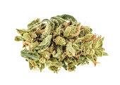 Marijuana buds isolated on white background