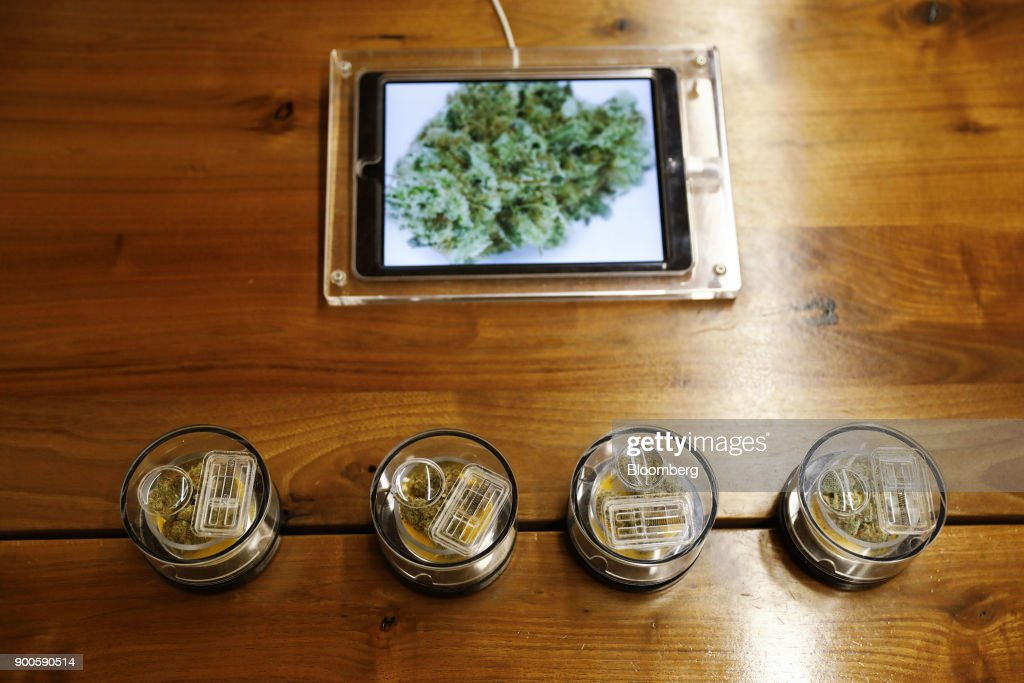 Marijuana is displayed for sale at the MedMen dispensary in West Hollywood, California, U.S., on Tuesday, Jan. 2, 2018. California launched legal marijuana Monday, and customers lined up to celebrate the historic moment in San Diego, Sacramento and Oakland -- some of the municipalities given the green light to start sales on January 1. Meantime, in Los Angeles and San Francisco, the state's first- and fourth-largest cities, customers were turned away empty handed.Photographer: Patrick T. Fallon/Bloomberg via Getty Images