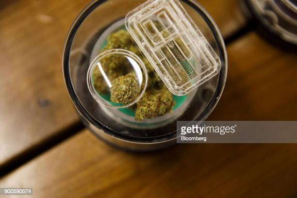 Marijuana is displayed for sale at the MedMen dispensary in West Hollywood California US on Tuesday Jan 2 2018 California launched legal marijuana...